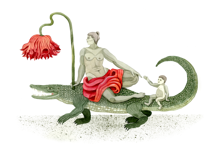 Woman crocodile flower af Emma Ekstam